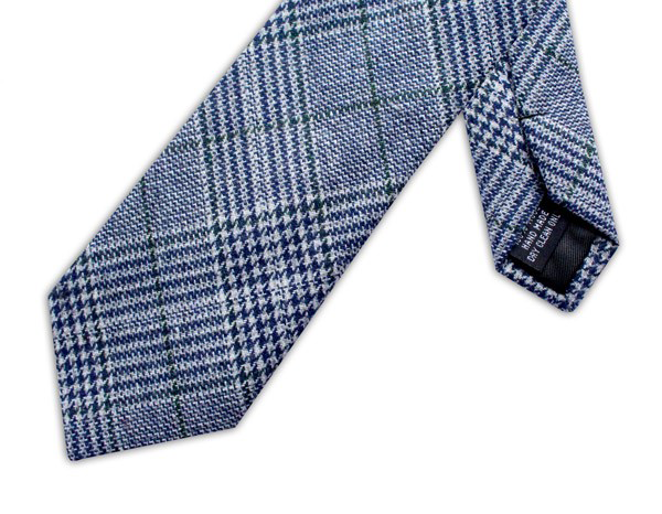 Wool necktie - Prince of Wales Navy/Green check