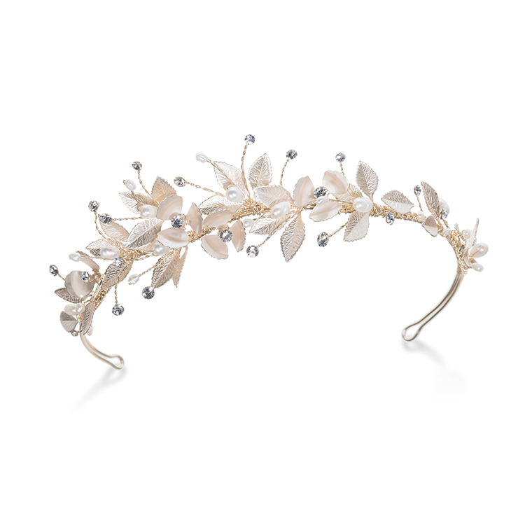 Olympia gold flower and leaf headband
