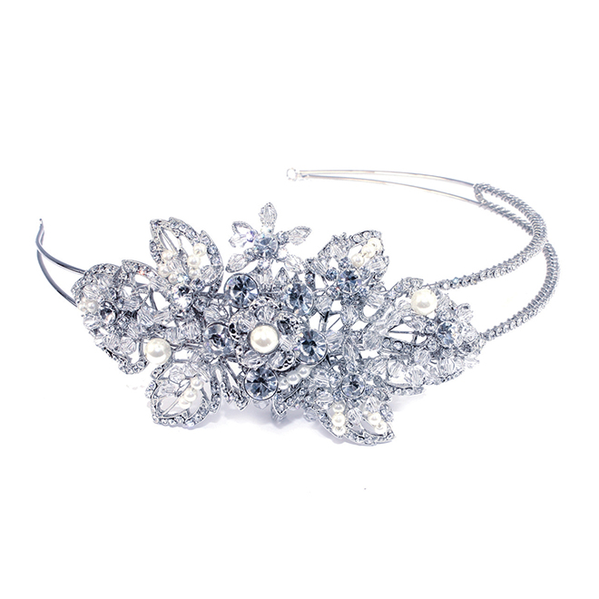 Pandora crystal and pearl leaf side headband