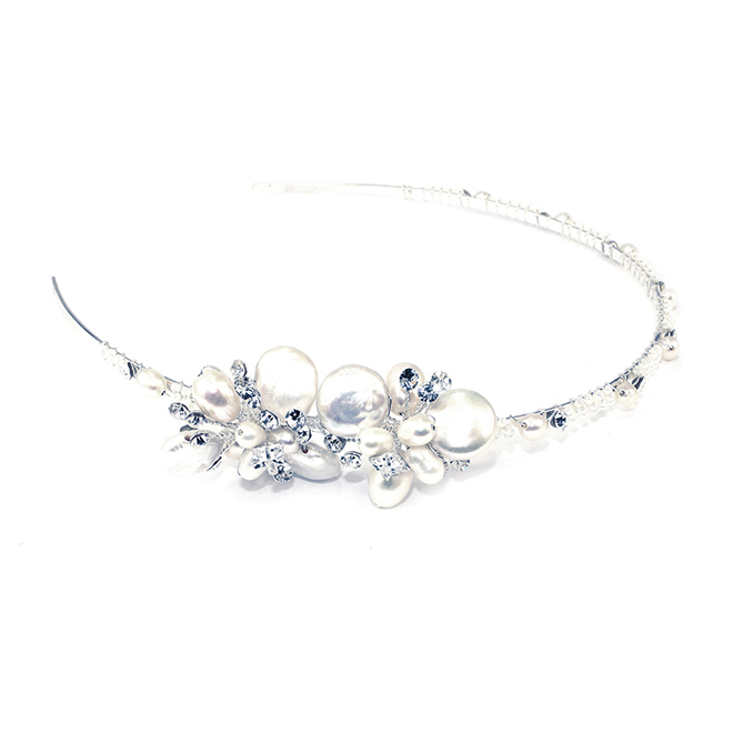 Paradise silver and pearl side headband