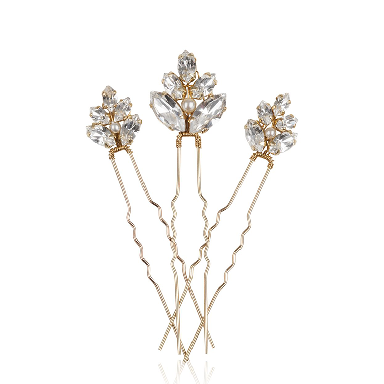 Petal Gold bridal hair pins - set of three