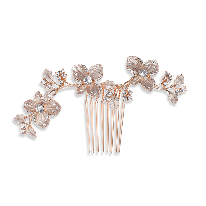 Petunia Rose gold bridal hair comb
