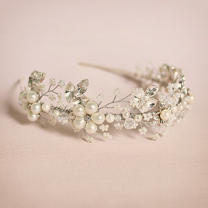 Quintrell pearl flower wedding headband by Miranda Templeton close up