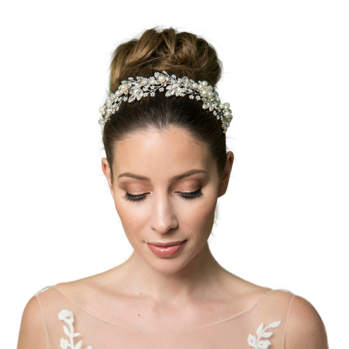 Quintrell pearl flower wedding headband by Miranda Templeton