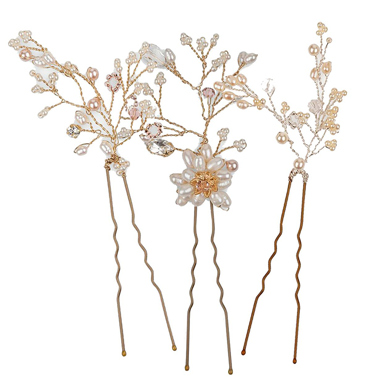 Rosalie Gold Pearl bridal hair pins - set of three