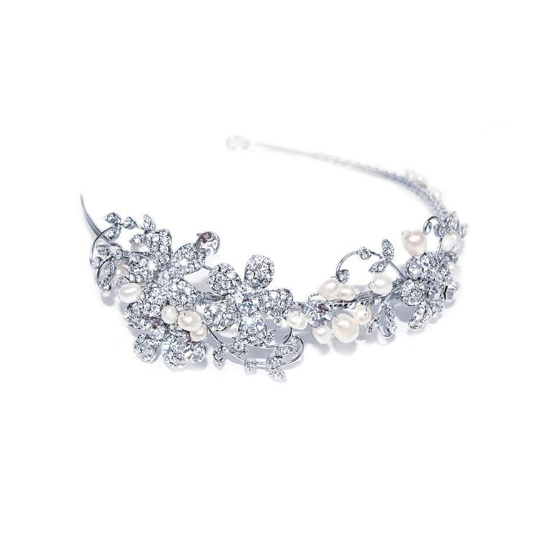Secret Garden crystal and pearl side headband