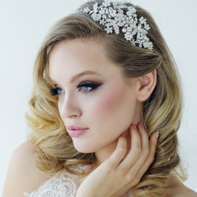 Rosalie crystal and pearl side headband