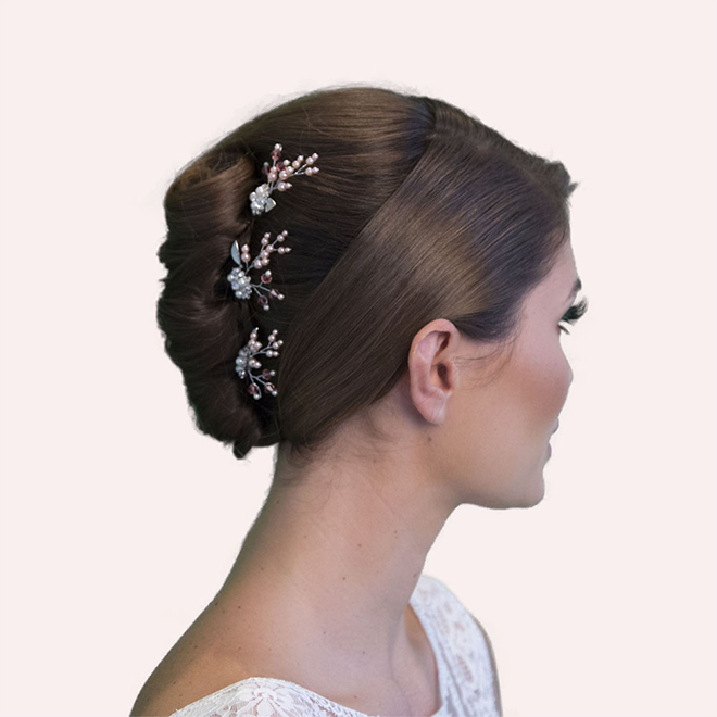 Spencer pink wedding hair pins -set of three