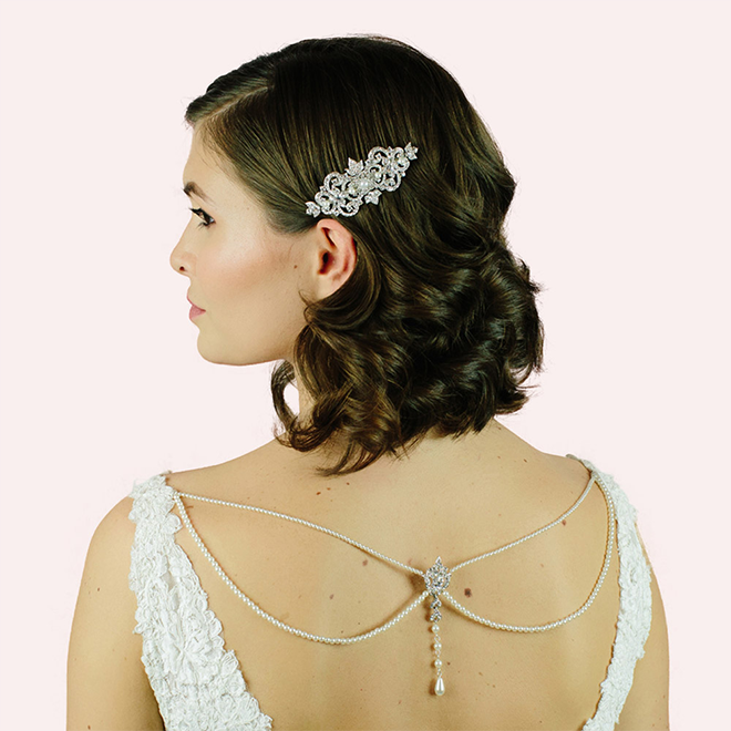 Statham wedding back necklace at lily houston design model image