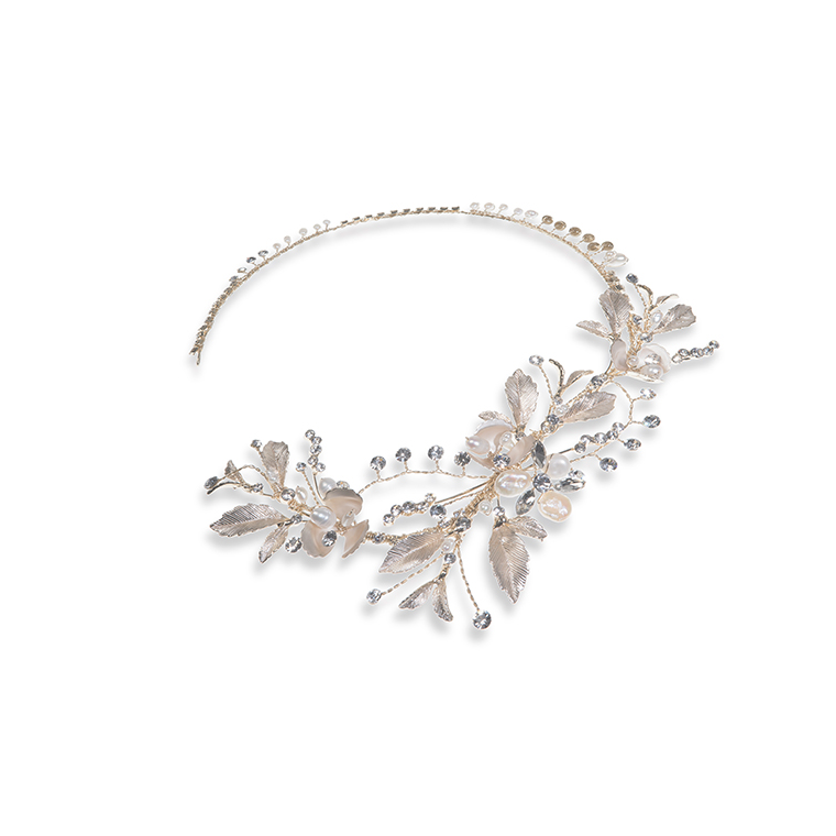 Valencia gold bridal side headband
