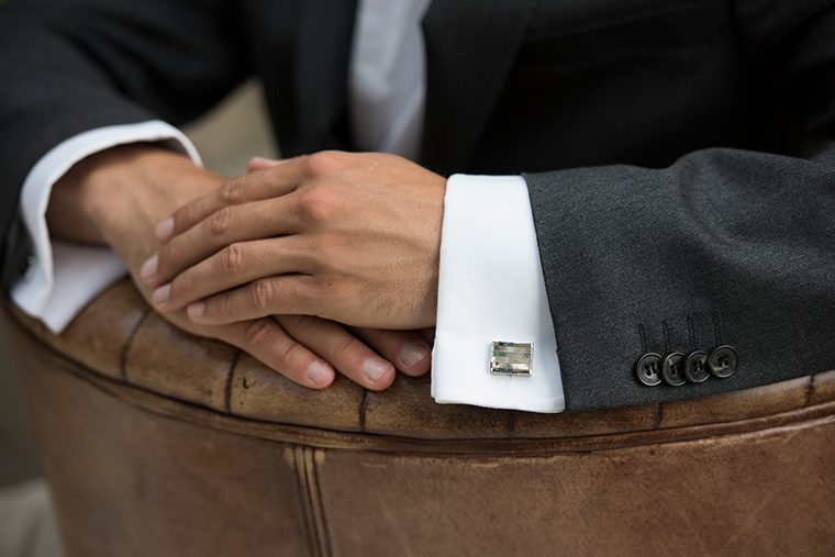 Wentworth mens wedding cufflinks at lily houston design model image close up