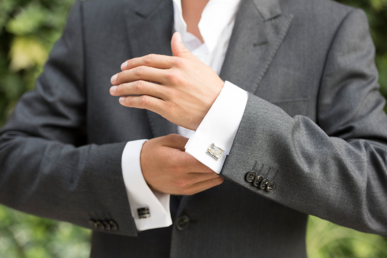 Wentworth mens wedding cufflinks at lily houston design model image