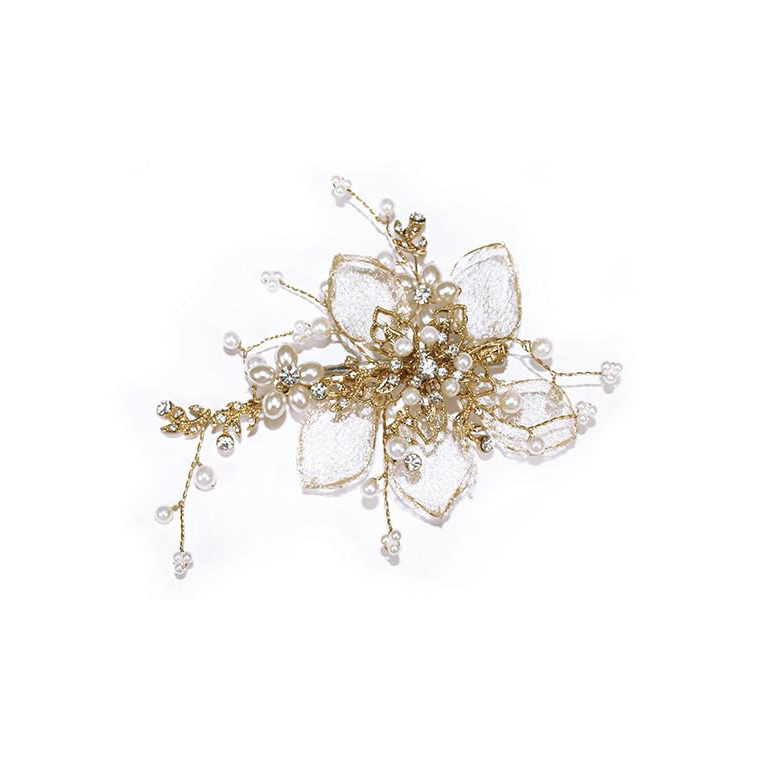 Camilla gold flower bridal hair clip