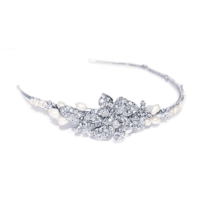 Clara crystal and pearl bridal headband