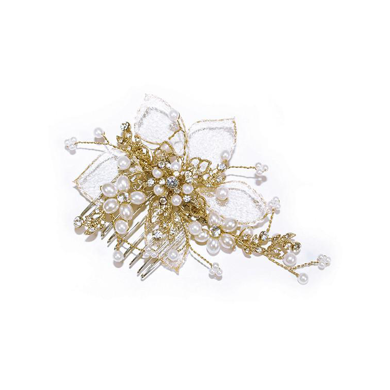 Gold Pearl Flower bridal hair comb