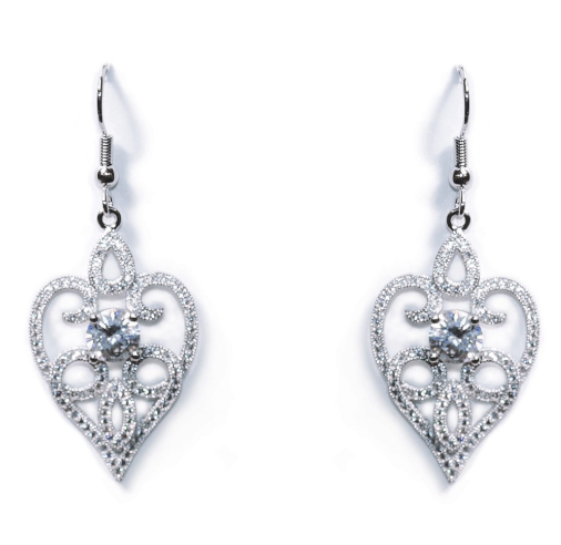 Amore crystal heart wedding earrings at lily houston design product image