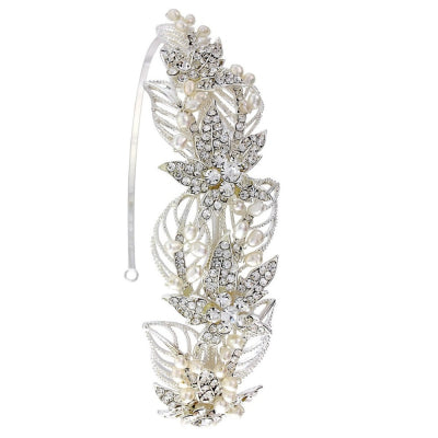 Nancy crystal and pearl bridal headband