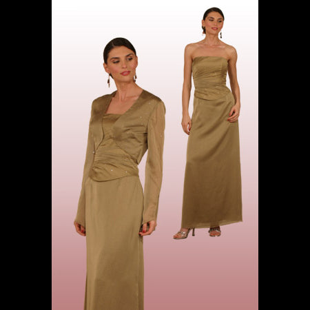 Style 8188-Venezia Fashions-Floor length iridescent chiffon dress with bolero enchanted with stones