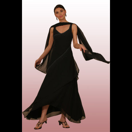 Style 8190-Venezia Fashions-Poly chiffon beaded dress with shawl