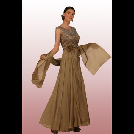Style 8191-Venezia Fashions-Iridescent chiffon hand beaded gown with shawl