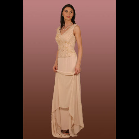 Style 8194-Venezia Fashions-Poly chiffon & triacetate beaded gown with shawl