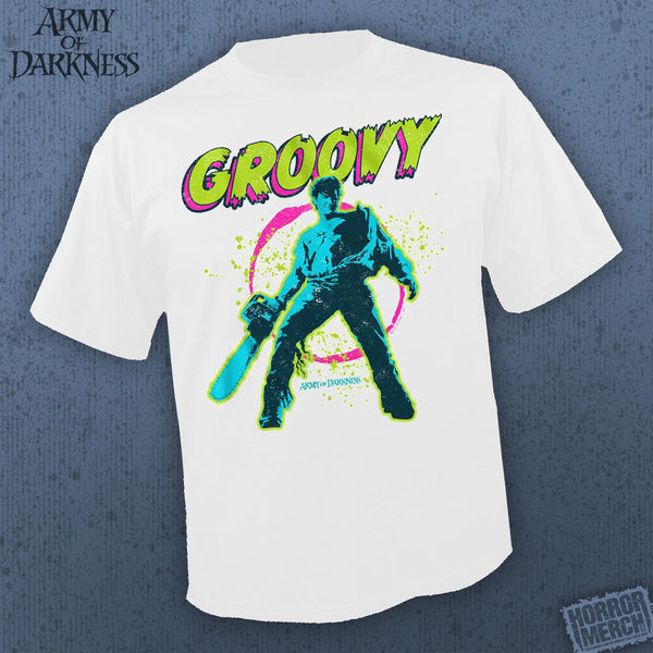 Army Of Darkness - Groovy (White) [Mens Shirt] - Pre-Order