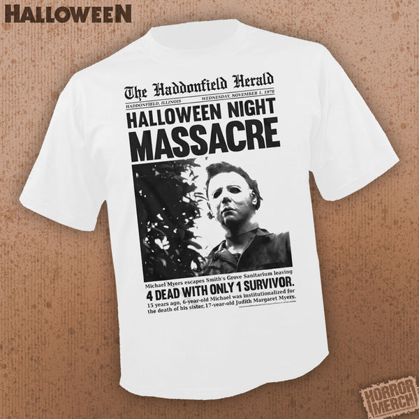 Halloween - Haddonfield Herald (White) [Mens Shirt] - Pre-Order