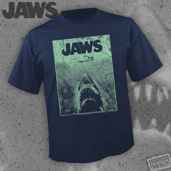 Jaws - Teal Cover (Navy Heather) [Mens Shirt]