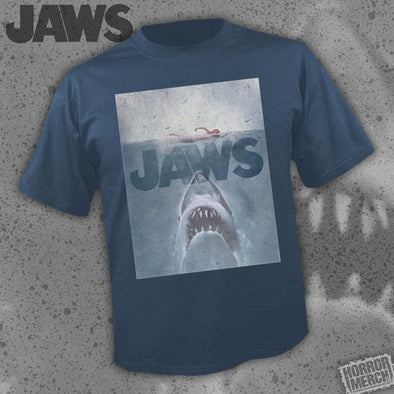 Jaws - Distressed Poster (Navy) [Guys Shirt]