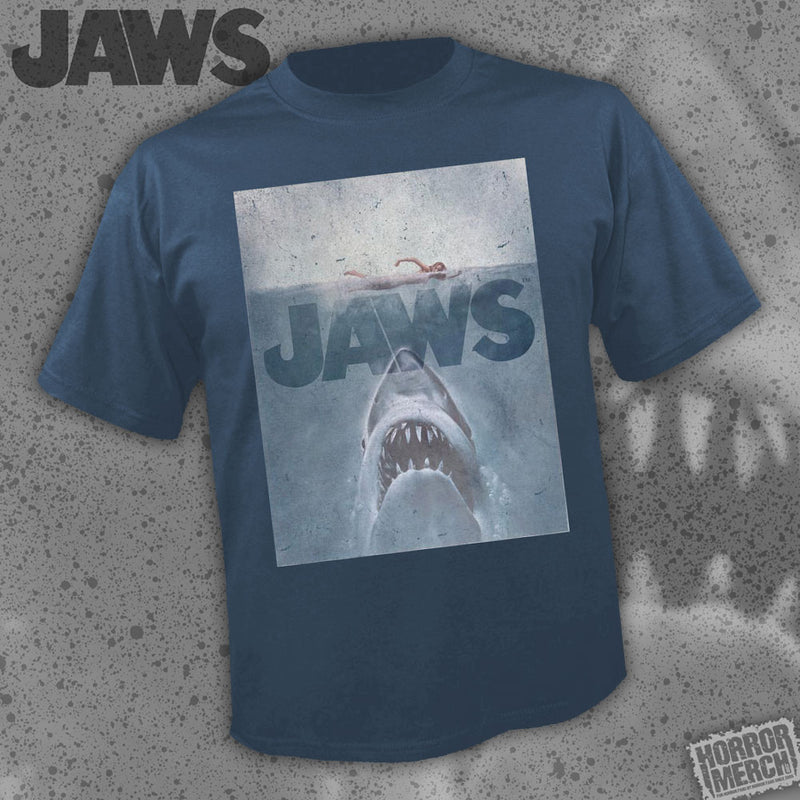 Jaws - Distressed Poster (Navy) [Mens Shirt] - Pre-Order