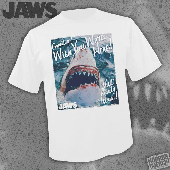 Jaws - Wish You Were Here (White) [Guys Shirt]