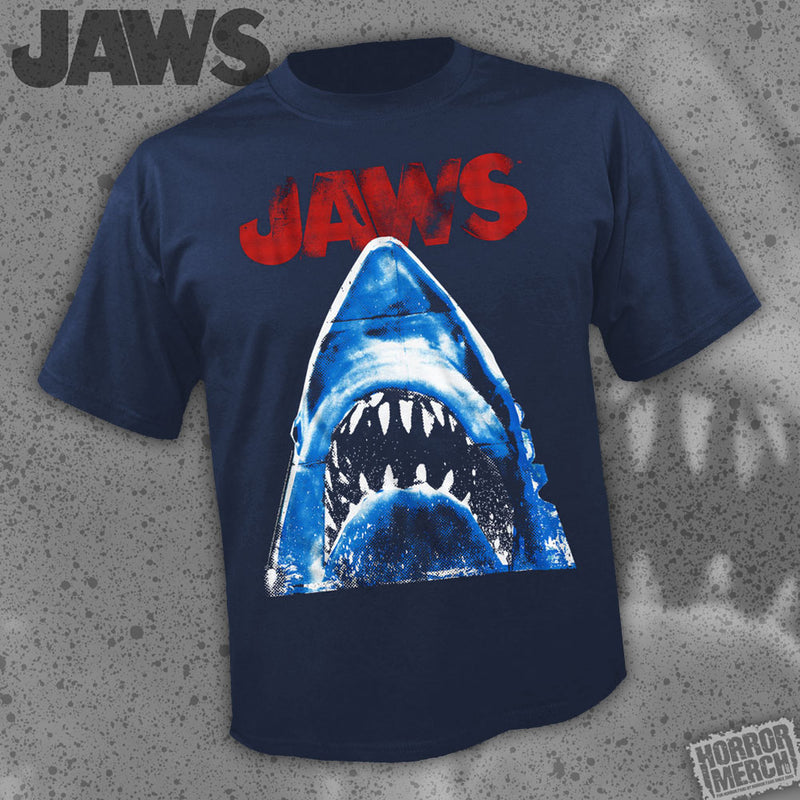 Jaws - Distressed (Navy) [Mens Shirt]