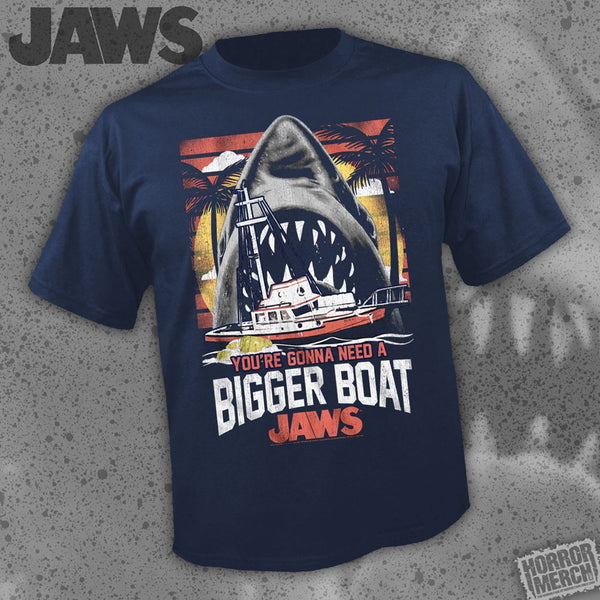 Jaws - Bigger Boat (Navy-Shark) [Mens Shirt] - Pre-Order
