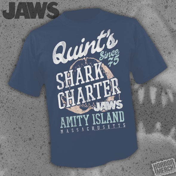 Jaws - Quints Shark Charter (Navy) [Guys Shirt]