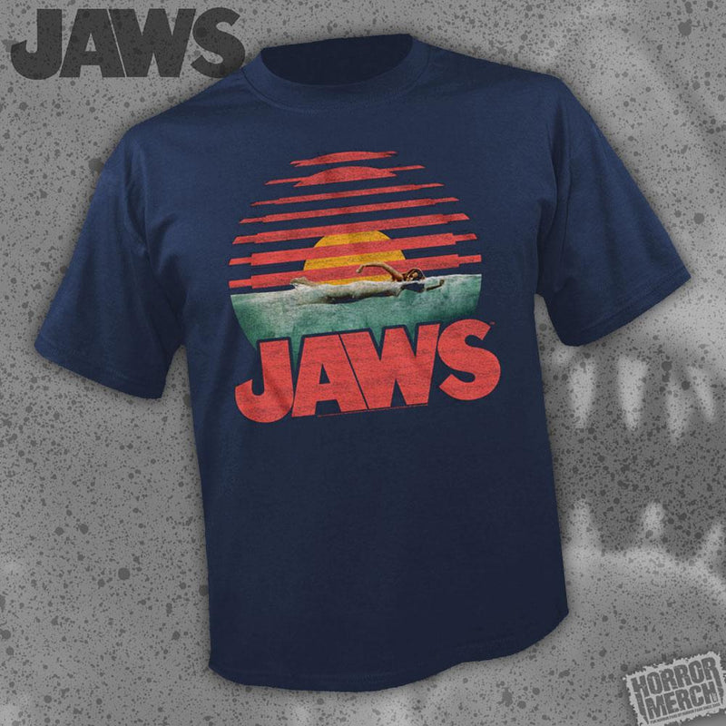 Jaws - Sunset (Navy) [Womens Shirt] - Pre-Order