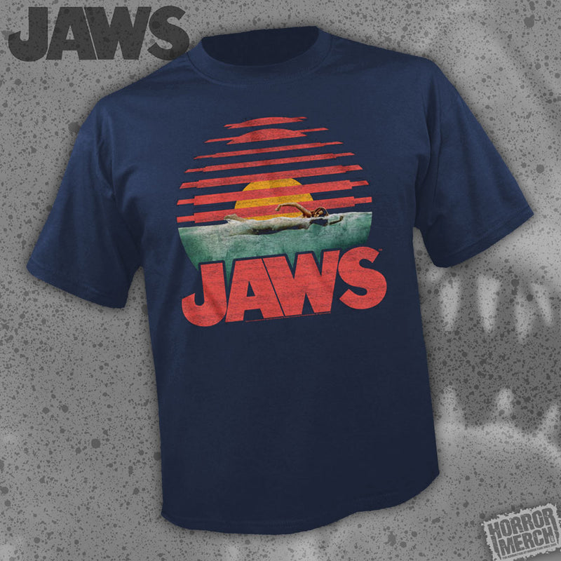 Jaws - Sunset (Navy) [Mens Shirt]