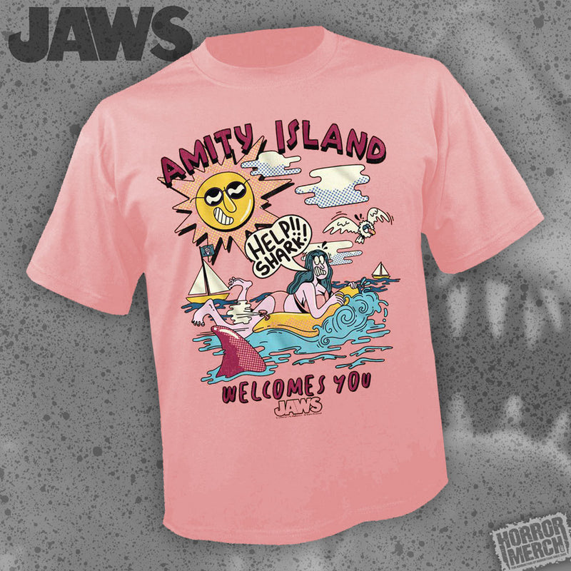 Jaws - Amity Island Welcomes You (Soft Red) [Mens Shirt] - Pre-Order