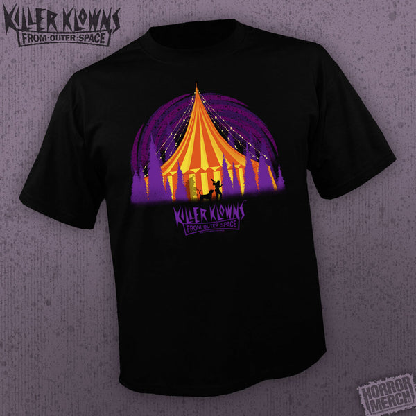 '- Killer Klowns From Outer Space - Tent (Black) [Horrormerch Exclusive - Mens Shirt] - Pre-Order