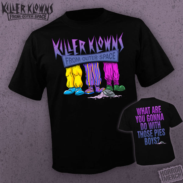 '- Killer Klowns From Outer Space - Clown Shoes (Front + Back Print) [Horrormerch Exclusive - Mens Shirt] - Pre-Order