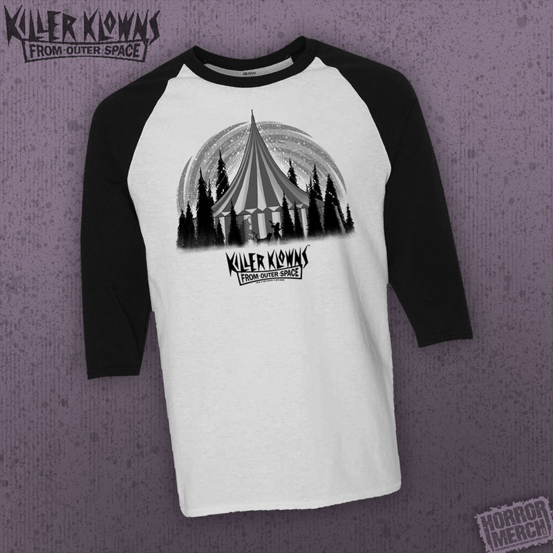 '- Killer Klowns From Outer Space - Tent (Gray) [Horrormerch Exclusive - Baseball Shirt] - Pre-Order