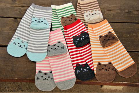 Cute Striped Cat Socks