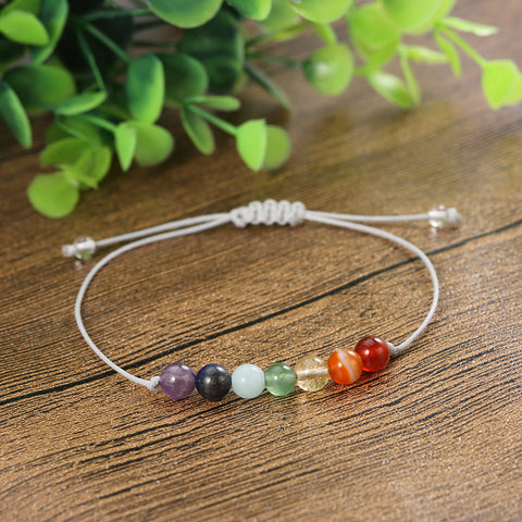 Adjustable Rainbow Chakra Healing Bracelet