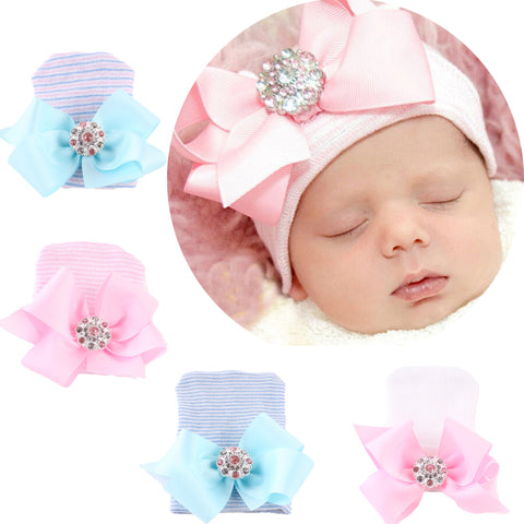 Cotton Bow Baby Beanie