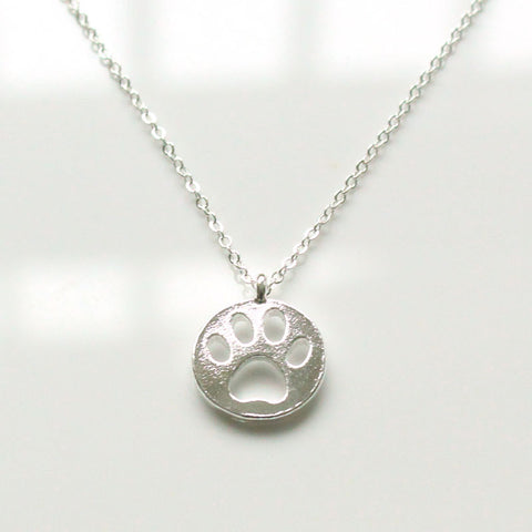 Silver Hollow Dog Paw Necklace