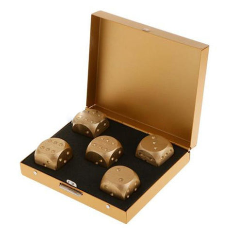 Gold Dice Whiskey Stone Set