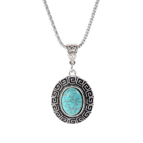 Turquoise Rhinestone Silver Necklace
