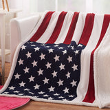 "50""x 60"" USA Flag Sherpa Blanket"