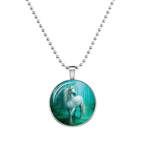 Luminous Glass Unicorn Necklace