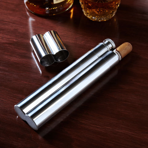 Stainless Steel Cigar Case and Flask Combo