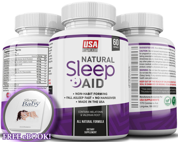 Natural Sleeping Aid Pills for Adults Extra Strength | Herbal Melatonin, Chamomile & Valerian Root Capsules | Adrenal Fatigue Support | Fast Stress, Anxiety & Insomnia Relief by USA Supplements